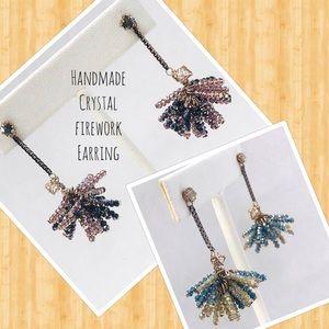 Handmade Designer Firework Crystal Earrings-NWT